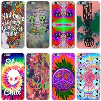Trippy Tie Dye Peace sign Alien Hard Transparent Cover Case for iPhone 7 7 Plus 6 6S Plus 5 5S SE 5C 4 4S