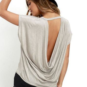 loose backless t shirt