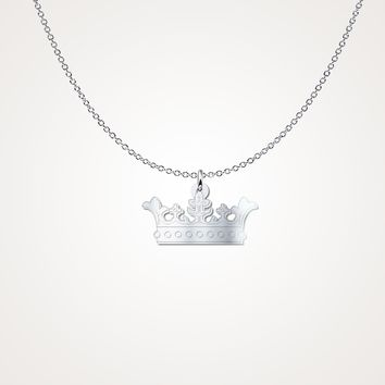 Sterling Silver Prince Princess Crown Necklace