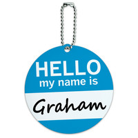 Graham Hello My Name Is Round ID Card Luggage Tag