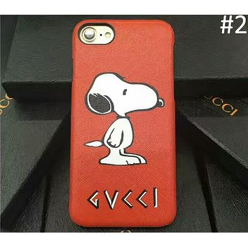 GUCCI & Snoopy Co-brand iphone7 Leather Phone Case Cover F-OF-SJK #2