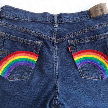 Rainbow pocket jeans by Boho Rain
