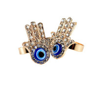 Hamsa Hand Adjustable Ring