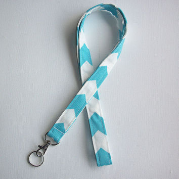 Fabric Lanyard / ID Holder with lobster claw clasp -  Blue and White Chevron Zig Zag