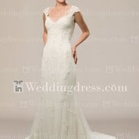 Vintage Lace Wedding Dress with Cap Sleeves DE412