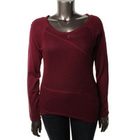 DKNY Jeans Womens Sheer Long Sleeves Pullover Sweater