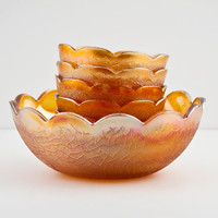 Imperial - Jeannette Crackle Bowl 7pc Set, Carnival Marigold Master and Individual Bowls