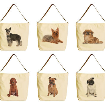 Terrier Dog Breeds Beige Printed Canvas Tote Bag with Leather Strap WAS_29
