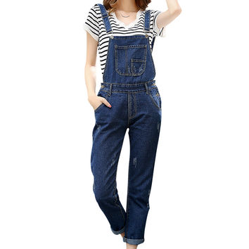 Autumn New Fashion Design Women Jumpsuit Blue Full Length Pocket Denim Overalls Casual Style Rompers Womens Jumpsuit Plus Size