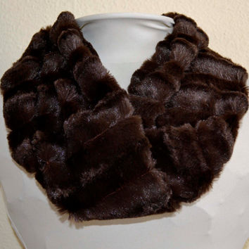 Women's Chocolate Brown Chinchilla Minky Faux Fur Cowl, Neck Warmer, Neck Piece, Circle Scarf, Ready to Ship!