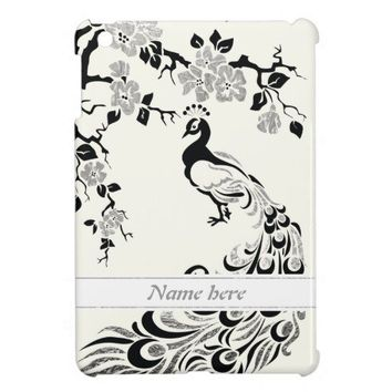 Black faux silver foil peacock and cherry blossoms iPad mini covers from Zazzle.com