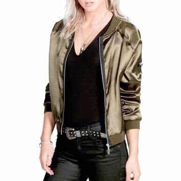 Womens Bomber Jacket Ladies Classic Padded Vintage Zip Up Biker Coat Brand Stylis Casual Stand Collar Slim Fit Outerwear
