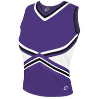 3-Color Kick Cheerleading Uniform Shell Top - Part of Chasse Sideline Collection