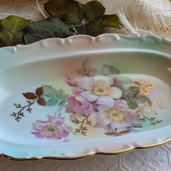 Vintage Schumann Arzberg Wild Rose Scalloped Oval Porcelain Dish 9 1/2 Inches