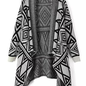 Black and Grey Geometric Print Vintage Knitted Cape