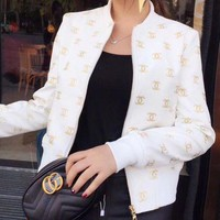 CHANEL Embroidery Leather Long Sleeve Cardigan Jacket Coat Red