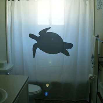 sea turtle Shower Curtain tortoise bathroom decor kids bath custom unique shared size color white