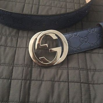 GUCCI Unisex Blue Gucci Signature Belt 411924 Size: 100/40 NWT