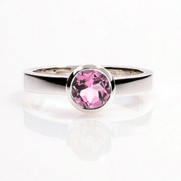 Pink tourmaline engagement ring, white gold ring, solitaire, bezel, tourmaline wedding ring, pink solitaire, simple. rose gold, custom
