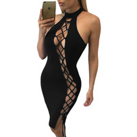 Bandage Bodycon Backless Solid Short Party Dress