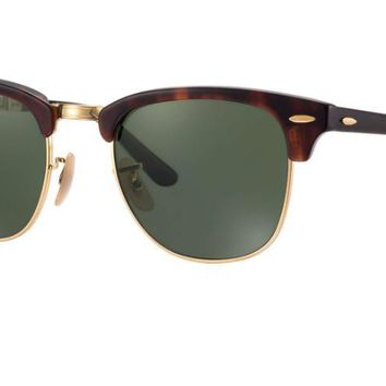 Ray Ban Clubmaster Folding Sunglass Havana with Green G-15 Lens RB2176 990