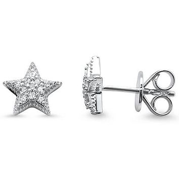 14K Gold .25TCW Ethically Mined Diamond Star Stud Earrings
