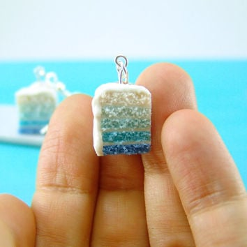 Ombre Earrings - Blue Ombre Cake Earrings Food Jewelry Food Earrings - MADE TO ORDER