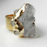 ON SALE Kunzite and herkimer diamond statement ring - Gold dipped - Rough gemstone - Raw Organic