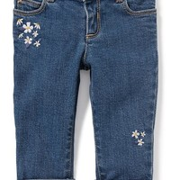 Floral-Embroidered Skinny Boyfriend Jeans for Baby | Old Navy