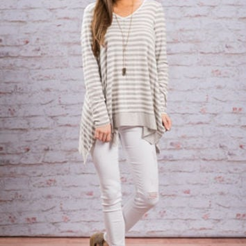 Dare To Be Yourself Top, Gray-Ivory