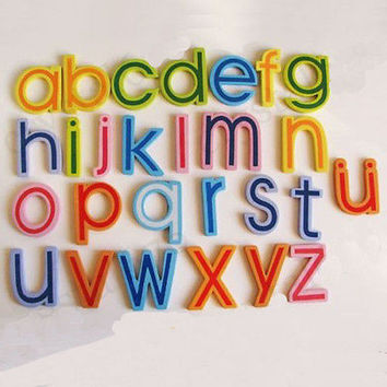 27pcs Wooden Letters Lowercase Alphabets Fridge Magnetic Kids Educational Toy 3C