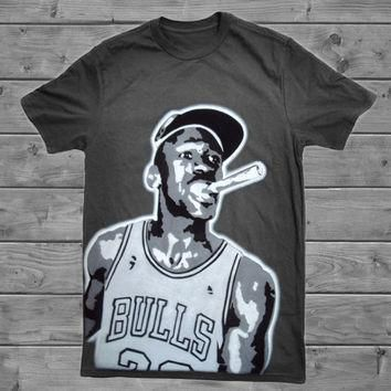 Michael Jordan MJ 23 Chicago Bulls NBA Black Airbrush Stencil Graffiti T-Shirt Tee Shi