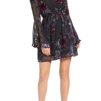 Dee Elly Burnout Velvet Bell Sleeve Dress | Nordstrom