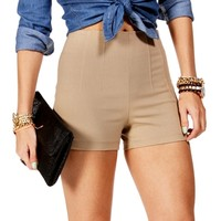 Mocha High Waisted Side Zip Shorts