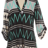 Chevron Multi Print Roll-Tab Sleeve Blouse