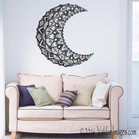 Mandala moon wall decal, boho wall decor, bohemian wall decor, living room decor, bedroom wall decal, boho wall decal, dorm room decor