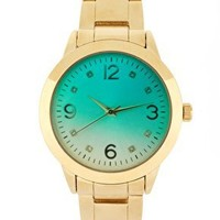 River Island   River Island Gold And Green Link Watch at ASOS
