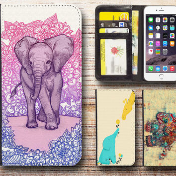 iphone 5 wallet case leather elephant for apple iphone 4 4s 5 5s 5c 6 plus ipod touch elephant2