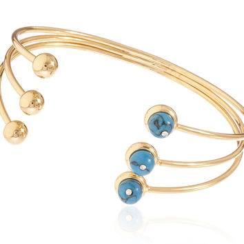 Goldtone Semi-Precious Triple Banded Simulated Pearl Arm Cuff Bracelet (Turquoise)