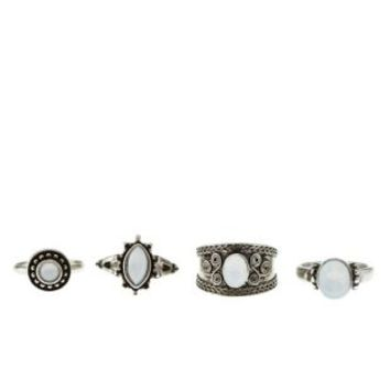 Silver Boho Moonstone Rings - 4 Pack by Charlotte Russe
