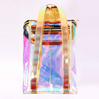 2017Women candy Bags Transparent reflection Backpack High Quality Laser Hologram Backpack Girls Shoulder Bag bolsos pvc Harajuku