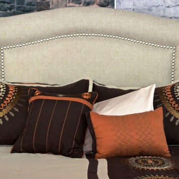 St Kitts Queen/Full Size Beige/Tan Hex Stich Upholstered Nailhead Trim Arch Headboard