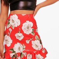 Olivia Red Floral Drop Hem Mini Skirt | Boohoo