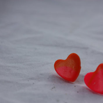 Earrings Hearts Pink and Orange Polymer Clay by DragonFeetDesigns