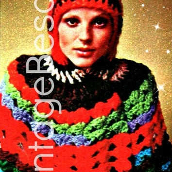 HOODED Ripple CAPELET Vintage CROCHET Pattern Retro 1970s Instant Download Pdf  Stay toasty and look fabulous! colorful and fabulous fun
