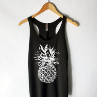 Large Pineapple Tank Top Shirt in Black