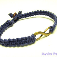 CLEARANCE SALE - Navy Blue Infinity Bracelet, Brass Tone Charm, Couples Jewelry, Best Friends