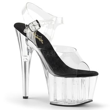 Clear Platform Ankle Strap Sandal With 7 Inch Stiletto Heels Clear Fitness-Competition Shoes.