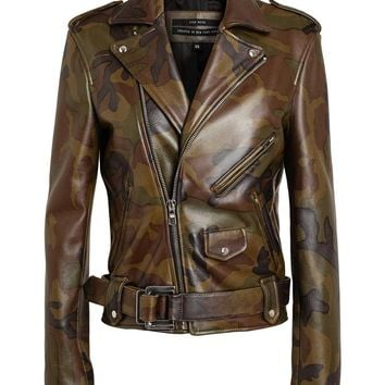 PYER MOSS | Camouflage Leather Biker Jacket | Browns fashion & designer clothes & clothing