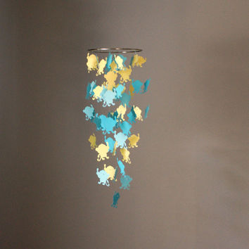 Teeny Yellow and Aqua Monkey Chandelier Mobile